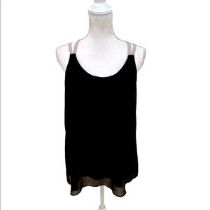 Philosophy black flowy sheer tank strappy back